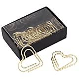 Love Heart Shaped Paper Clips Bookmark Marking Document Organizing Clip Stationery Page Marker for Office School Supplies (Gold)