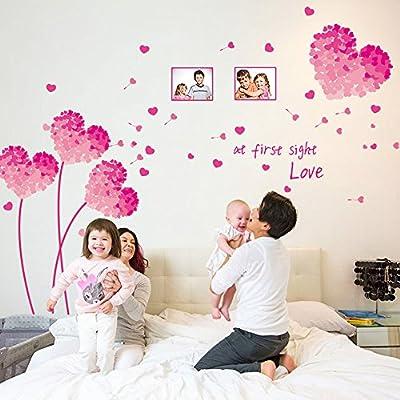Pink Dandelion Love Heart Shape Photo Frames Wall Sticker Decal Home Decor PVC Murals Wallpaper House Art Picture Living Room Adult Senior Teen Kids Baby Bedroom Decoration