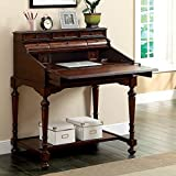 Furniture of America Menda Traditional Secretary Office Desk with Leatherette Top - Cherry