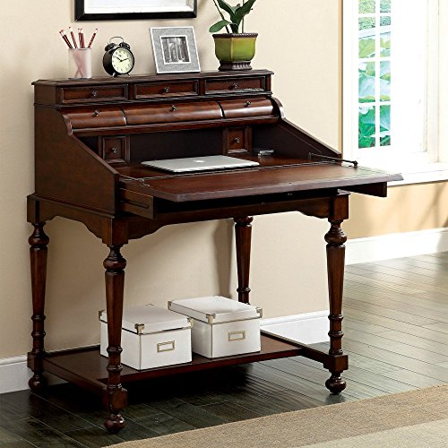 Furniture of America Menda Traditional Secretary Office Desk with Leatherette Top - - Top Leatherette