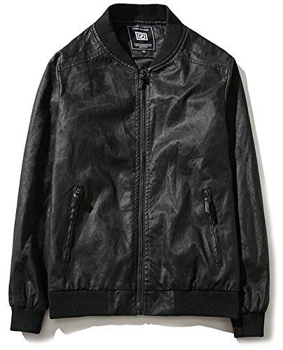 QZUnique Men's Fashion Slim Fit Stand Collar Long Sleeve Leather Jacket Black US 3XL