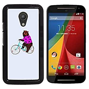 FECELL CITY // Duro Aluminio Pegatina PC Caso decorativo Funda Carcasa de Protección para Motorola MOTO G 2ND GEN II // Circus Funny Animal Bicycle