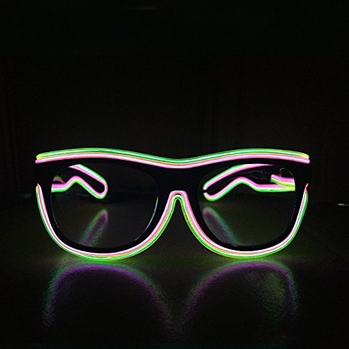 [Smart Remote Control Glasses El Wire Fashion Neon LED Light Up Shutter Shaped Glow Rave Costume Party DJ Bright Glasses For Halloween,Party Favor (Pink with Green Rim Colour)] (Uv Dance Costumes)
