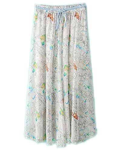 Mousseline Plage Femmes Maxi de Floral Jupe 2 Blanc Taille en Longue Haute wnEggx0qRS