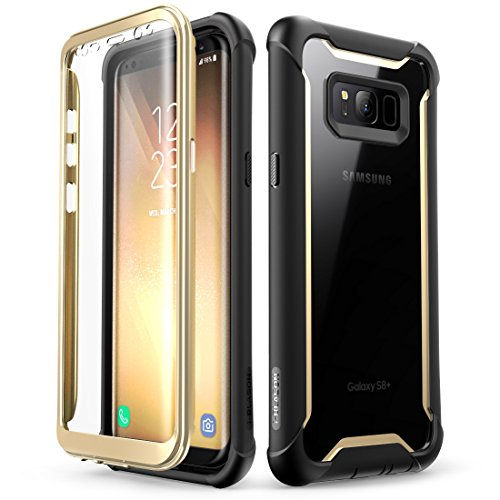 lus case, i-Blason [Ares] Full-body Rugged Clear Bumper Case with Built-in Screen Protector for Samsung Galaxy S8+ Plus 2017 Release (Black/Gold) ()