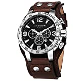 Akribos XXIV Men's AK727SSB Chronograph Quartz Movement Watch with Black Dial and Brown Genuine Leather Strap