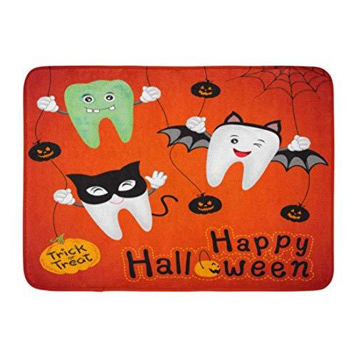 Ptrfedss Doormats Bath Rugs Outdoor/Indoor Door Mat Brown Dental Teeth Character Pumpkin in Moon Night on Halloween Funny for Orange Dentist Bathroom Decor Rug 16