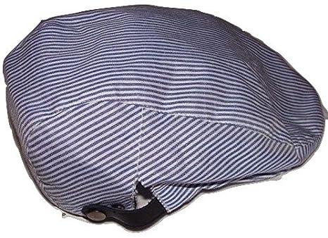 John Lewis Mens Ticking Stripe Flat Cap Blue Large  Amazon.co.uk  Clothing a1f4d6ebaea