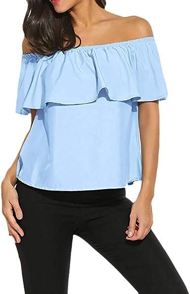 DressLksnf Camiseta Nuevo de Mujer Color Sólido Manga Cortas Moda Ruffle Blusa Sexy Fuera del Hombro Camiseta Suelto Blusas de Oficina Verano Casual Tops: Amazon.es: Ropa y accesorios