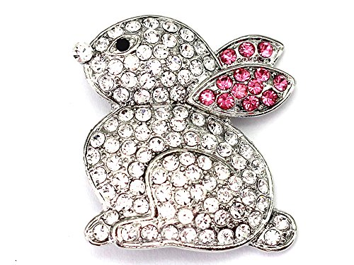 Faship Clear & Pink Ears Bunny Rabbit Pin Brooch For Easter