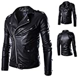 WEEN CHARM Mens Causal Belted Design Slim Fit Classic Police Style Faux PU Leather Zipper Biker Jacket