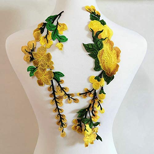 Colorful Flower Floral Collar Sew Patch Applique Badge Embroidery Dress Handmade Craft Ornament Fabric Scrapbooking Yellow