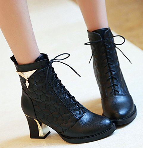 Ankle Up Toe Heels Black Riding Womens IDIFU Chunky Pointed Booties Mid Lace Fashion qwfT6avO