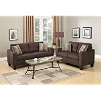 Benzara BM168739 Polyfiber Sofa with Loveseat and Cushions, Brown