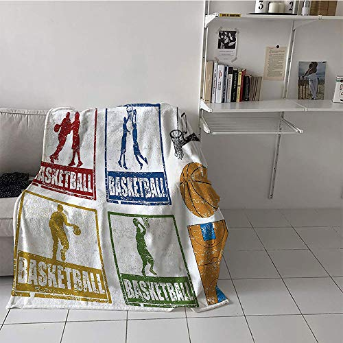 Khaki home Children's Blanket Boys Oversized Travel Throw Cover Blanket (50 by 70 Inch,Sports Decor,Collection of Vintage Rubber Stamp Print Style Illustration with Basketball Players,Navy Green Red