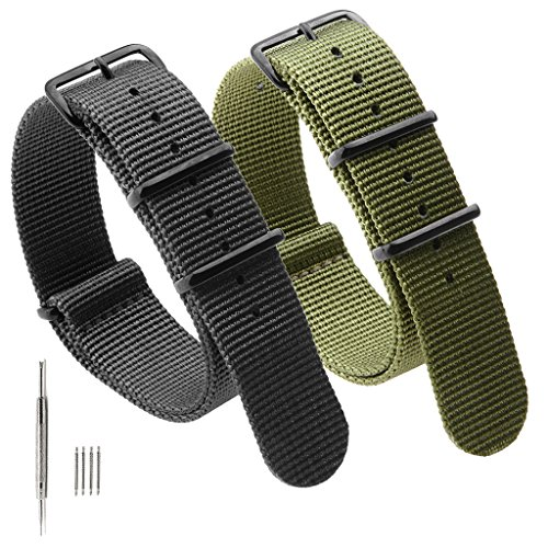 2PCS Nato Strap Canvas Fabric Nylon Watch Bands with Stainless Steel Buckle,Adebena Ballistic Replacement Nato Watch Straps Width 20mm Black Army (Stainless Steel Watch Band Buckle)