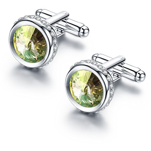 Pinannie Austria Crystal Shirt Cuff Links White Gold Plated Wedding Cufflinks for Mens (Night - Gold Green Cufflinks Plated