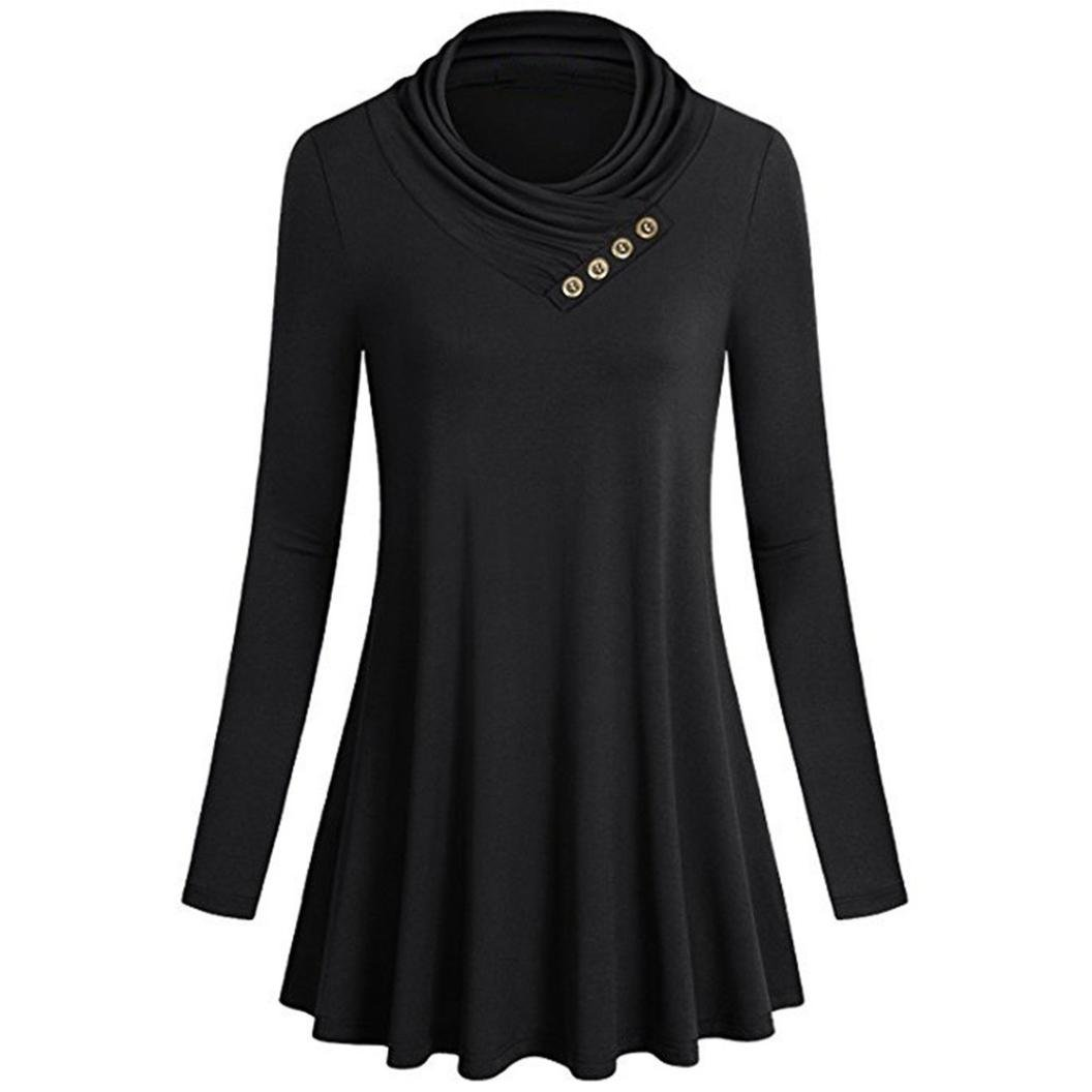 vermers Clearance Sale Womens Tunic Tops - Women Button Long Sleeve T Shirts Casual Loose Blouse(S, Black)