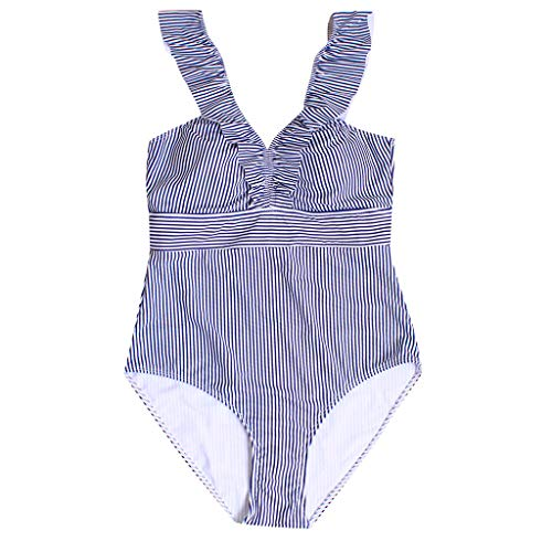 (Sexy Women Retro V Neck Blue Striped Swimsuit Ruffled Padded One Piece Swimsuit)