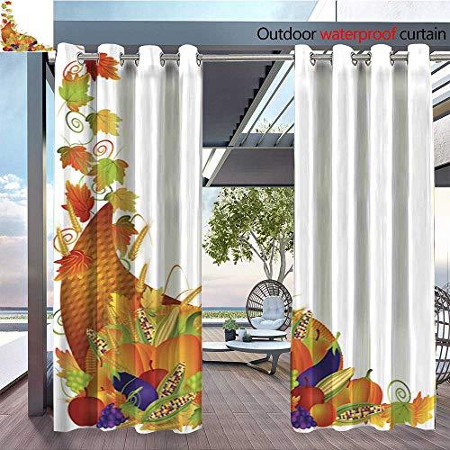 Exterior/Outside Curtains Thanksgiving Cornucopia Vines Border Vector Illustration for Patio Light Block Heat Out Water Proof Drape W84 x L84/Pair ()