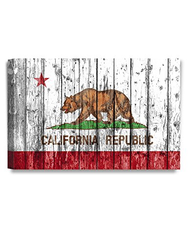 DECORARTS California State Flag. Giclee Print on 100% Archival Cotton Canvas, Canvas wall art for Wall Decor 36x24x1.5