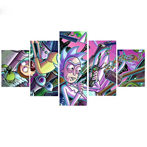 MingTing 5 Panel Canvas Wall Art Rick And Morty Poster Painting Modern Home Decor For Living Room Kid Room(55x100cm No Frame)