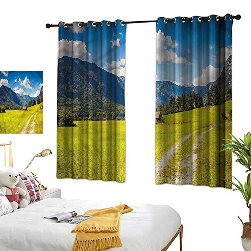 (Warm Family Nature Thermal Insulated Drapes for Kitchen/Bedroom Julian Alps Mountain Valley 70%-80% Light Shading, 2 Panels,55