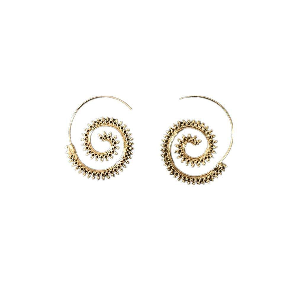 Kyeo Orecchini esagonali a forma di vortice con orecchini a forma di turchese da donna in pietra