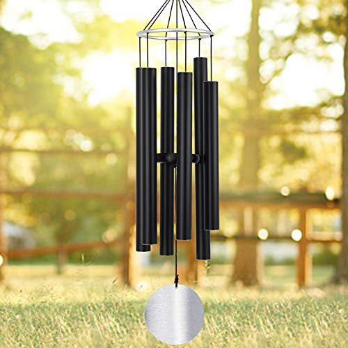 Wind Chimes Outdoor Large Deep Tone,36Inch Large Wind Chimes Amazing Grace Tuned Relaxing Soothing Low Bass,Memorial Wind Chimes Sympathy for Mom Dad,Black(A Free ()