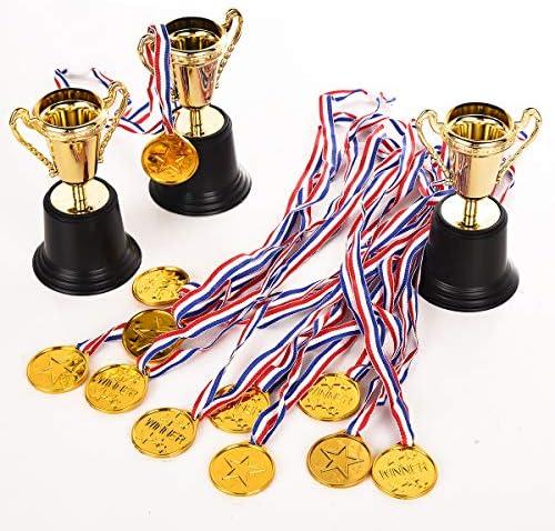 Fashionbabies Kit de 40 Piezas de trofeos de Oro, 36 Piezas de medallas de plástico Dorado y 4 Piezas de trofeos de plástico Dorado para Fiestas, Deportes y premios: Amazon.es: Juguetes y juegos