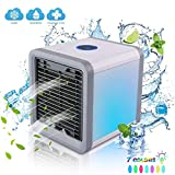 3 inch ac fan - Urhomepro Personal Air Cooler, Portable 3 in 1 USB Mini Air Conditioner, Humidifier, Purifier and 7 Colors Nightstand, Desktop Cooling Fan for Office/Home/Outdoor/Travel