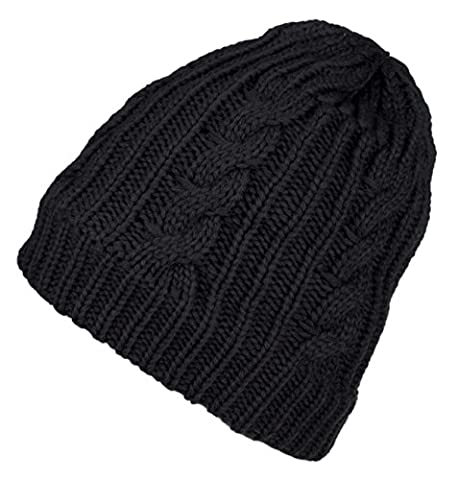 Spikerking Mens New Winter Hats Knitted Classic Twist Cap Thick Beanie Hat,Black - Black Classic Knit Beanie