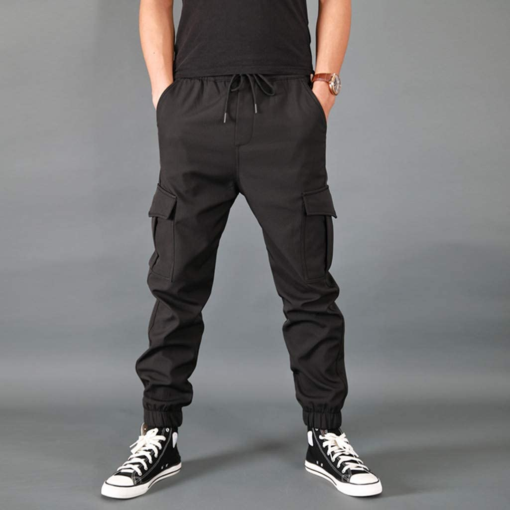 Mens Overalls Trousers Comfortable Elastic Waist Multi Pockets Drawstring Solid Cargo Pants Slacks