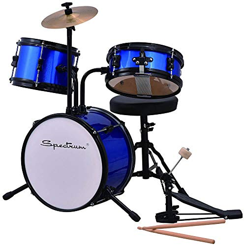 Spectrum AIL 610B 3-Piece Junior Kit with Crash Cymbal & Drum Throne, Blazin' Blue