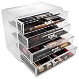 Sorbus Acrylic Cosmetics Makeup and Jewelry Storage Case Display- 4 Large Drawers Space- Saving, Stylish Acrylic Bathroom Case Great for Lipstick, Nail Polish, Brushes, Jewelry and More (Clear)