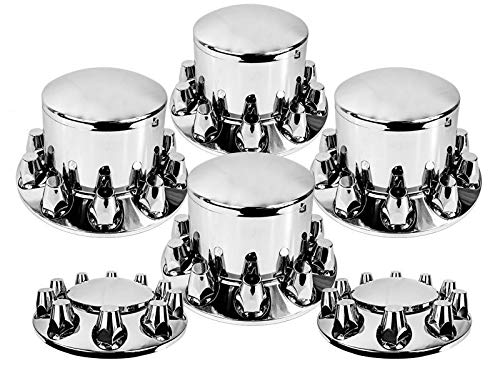 (Set of Chrome Front and Rear Axle Wheel Cover 33mm Screw-on Lug Nuts for Semi Truck (TR082-TWCS))