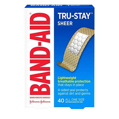Band-Aid Brand Tru-Stay Sheer Strips Adhesive Bandages for First Aid and Wound Care of Minor Cuts and Scrapes, All One Size, 40 ct