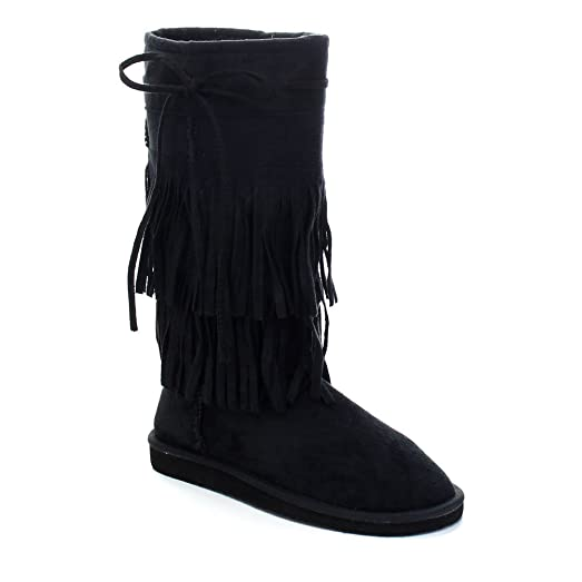 ALING-82 Women's Stylish Mid Calf 2 Layer Fringe Flat Boots Color:BLACK Size:7.5