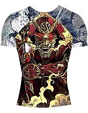 Shogun Fight Rash Guard BJJ MMA Premium Jiu Jitsu Fighting Grappling Compression Shirt, Large Samurai