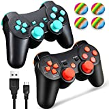 PS3 Controller Wireless Dualshock 3, TPFOON 2 Pack Double Shock Gamepad for PlayStation 3 Remotes, Sixaxis Wireless PS3 Controller with Charging Cable and 4 Thumb Caps (Red+Blue)