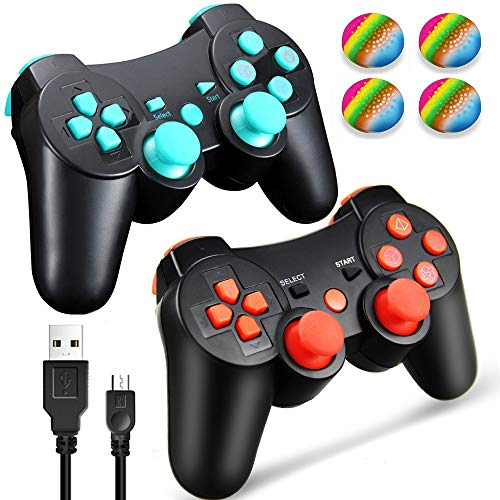 (PS3 Controller Wireless Dualshock 3, TPFOON 2 Pack Double Shock Gamepad for PlayStation 3 Remotes, Sixaxis Wireless PS3 Controller with Charging Cable and 4 Thumb Caps (Red+Blue))