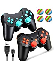 PS3 Controller Wireless Dualshock 3, TPFOON 2 Pack Double Shock Gamepad for Playstation 3 Remotes, Sixaxis Wireless PS3 Controller with Charging Cable and 4 Thumb Caps