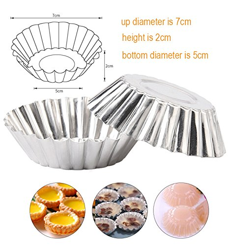 Egg Tart Mold Baking Cups Tins,50pcs Aluminum Mini Pie Pans Muffin Baking Cups Cupcake Cake Cookie Lined Mould Tin Baking Tool by Fashionclubs (Image #2)