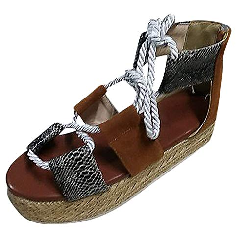 Sandals for Women Open Toe Snake Print Thick Bottom Lace Up Roman Sandals Platform Sandals Brown ()
