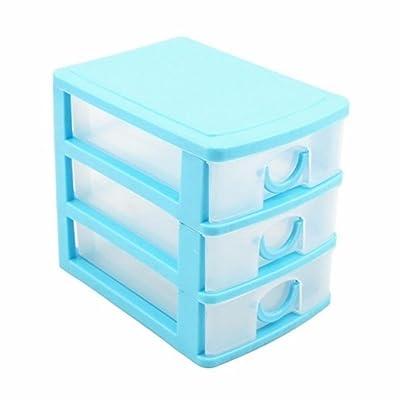 Boîte de rangement pour cosmétiques - Tiroirs multicouches Three Layers# bleu