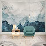Summor Tapestry Blue Mountains Silhouette Watercolor Surface Gift Wrap Scrapbooking Hanging Tapestries 60 x 80 inch Wall Hanging Decor for Bedroom Livingroom Dorm