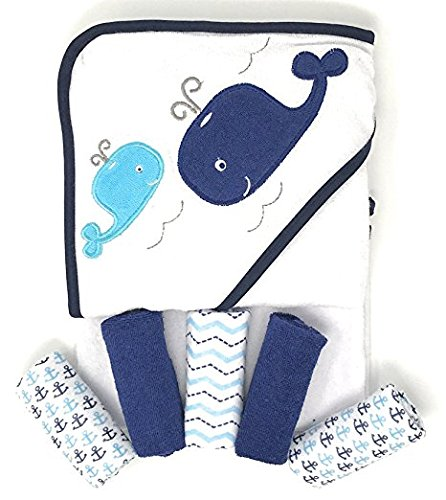 Whale Hooded Bath Towel & 5 Washcloths for Baby Infant Toddler Bathtime