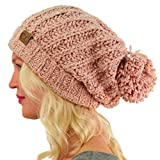 Winter CC Soft Chenille Pom Pom Warm Chunky Stretchy Knit Beanie Cap Hat Indi Pink