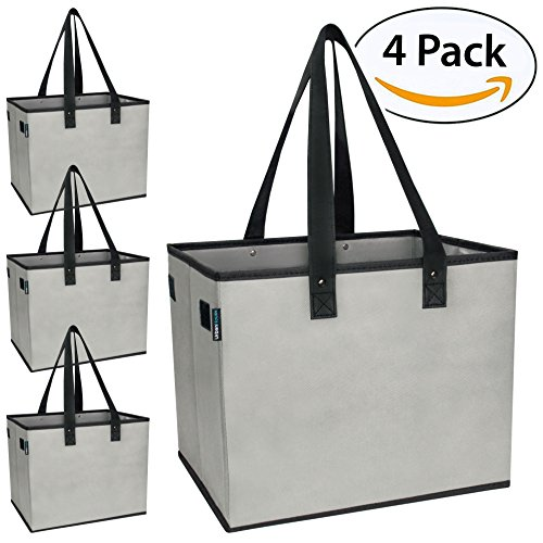 - Urban House AUH-SB4GY Large Collapsible Grocery Shopping Tote Box with Reinforced Bottom, 14