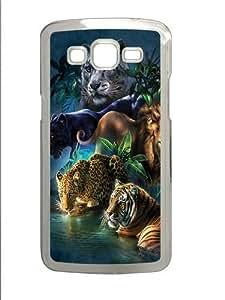 Big Jungle Cats Polycarbonate Hard Case Cover for Samsung Grand 2/Samsung Grand 7106 Transparent